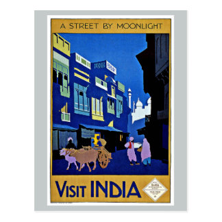 Visit India Asia Street by Moonlight Postcard