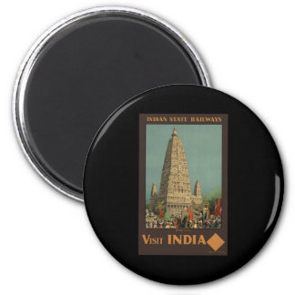 Visit India Budh Gaya 6 Cm Round Magnet