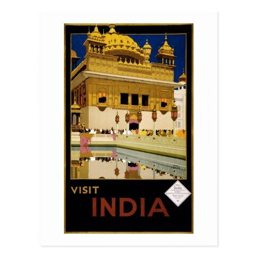 Visit India - Travel Poster Postcard
