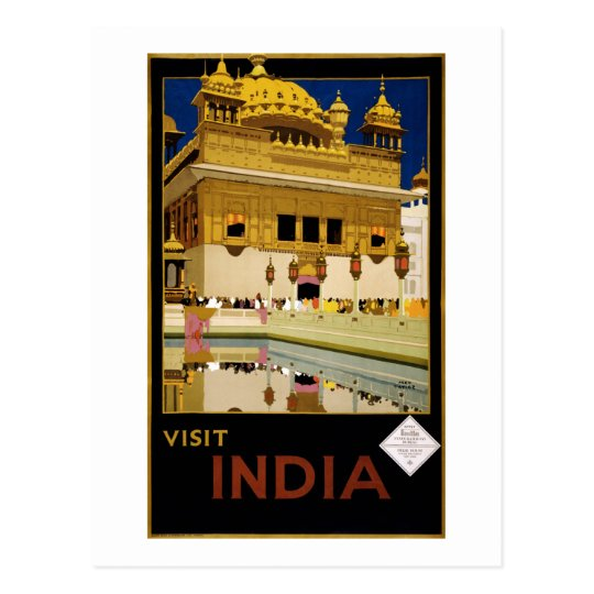 Visit India - Travel Poster Postcard