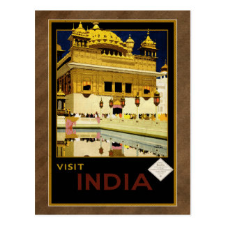 Visit India - vintage style travel postcard