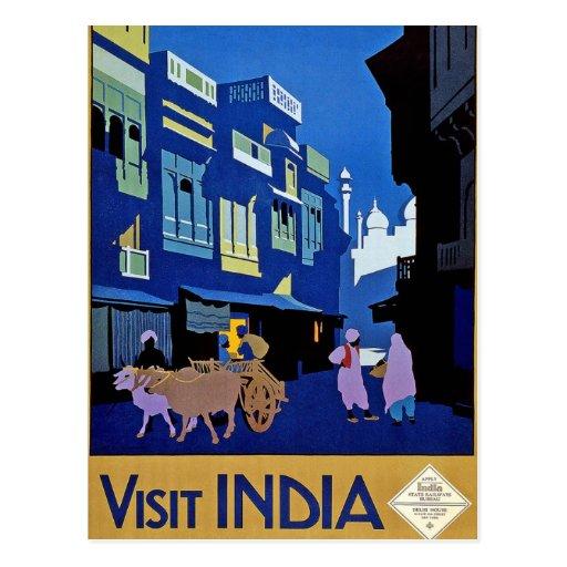 Visit India Vintage Travel Art Post Card
