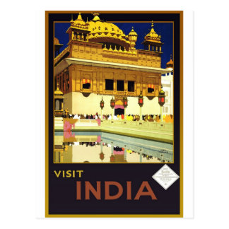 Visit India Vintage Travel Poster Art Postcard