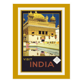 """Visit India"" Vintage Travel Poster Postcard"