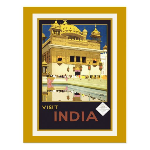 """""""Visit India"""" Vintage Travel Poster Postcard"""