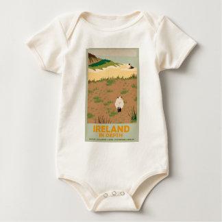 Visit Ireland Vintage Travel Poster Baby Bodysuit