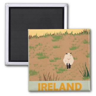 Visit Ireland Vintage Travel Poster Square Magnet