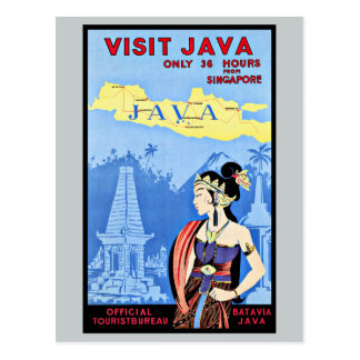 Visit Java Indonesia From Singapore Vintage Postcard