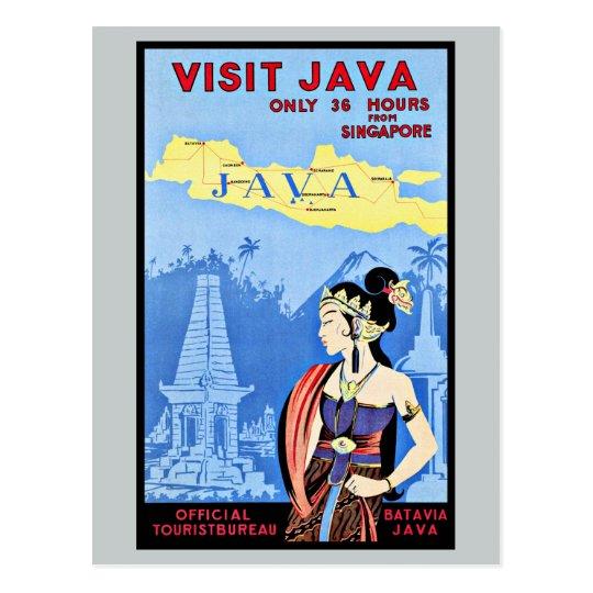 Visit Java Indonesia From Singapore Vintage Postcard
