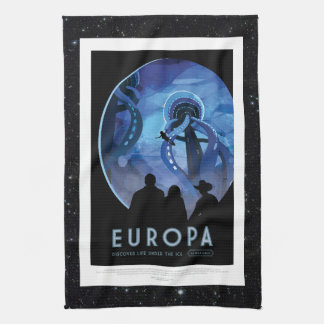 Visit Jupiter Moon Europa - Space Tourism Advert Tea Towel
