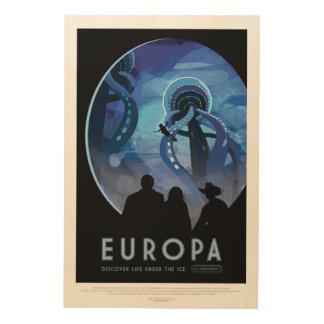 Visit Jupiter Moon Europa - Space Tourism Advert Wood Wall Art