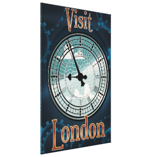 Visit London Victorian travel poster Gallery Wrap Canvas