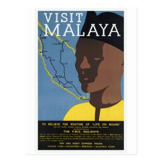 Visit Malaya Malaysia Railways Vintage Postcard