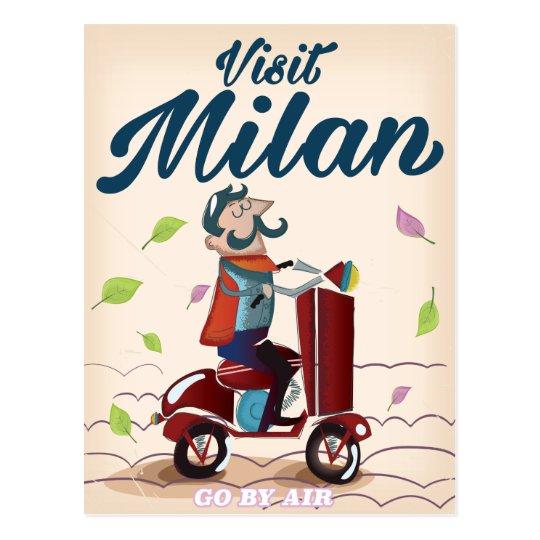 Visit Milan cartoon vintage travel poster Postcard