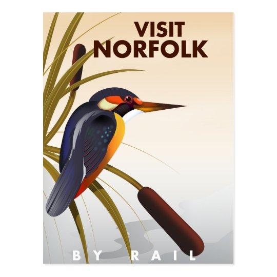 Visit Norfolk vintage travel poster. Postcard