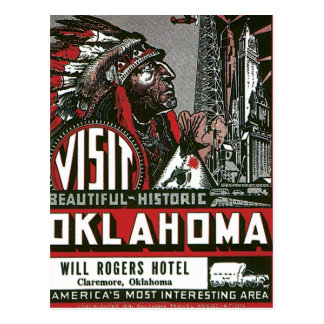 Visit Oklahoma With Indian Chief Postcard