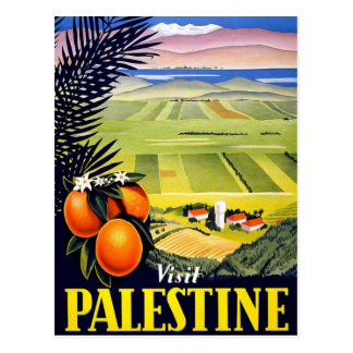Visit Palestine 2 Holy Land Vintage Travel Art Postcard