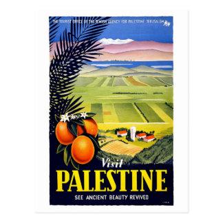Visit Palestine 2 Holy Land Vintage Travel Art Postcard