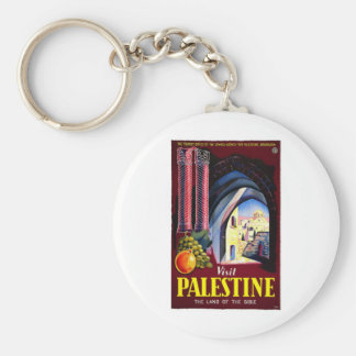 Visit Palestine Holy Land Vintage Travel Art Key Ring