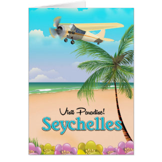 Visit Paradise! Seychelles travel poster Card