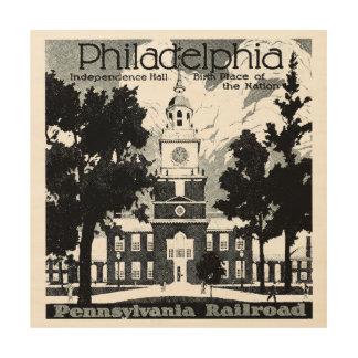 Visit Philadelphia on the Pennsylvania Railroad Wood Print