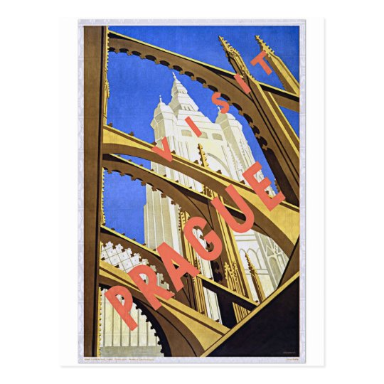 Visit Prague Vintage Travel Poster Art Postcard
