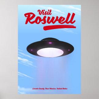 Visit Roswell UFO vintage poster Color