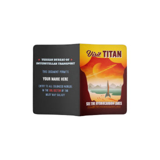 Visit Saturn's Moon Titan Travel Illustration Passport Holder