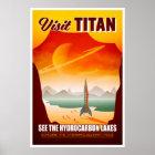 Visit Saturn's Moon Titan Travel Illustration Poster