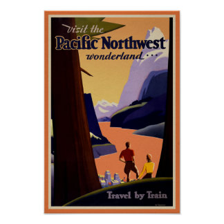 Visit The Pacific Northwest - Retro Travel Poster