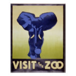 Visit the Zoo-elephant Poster