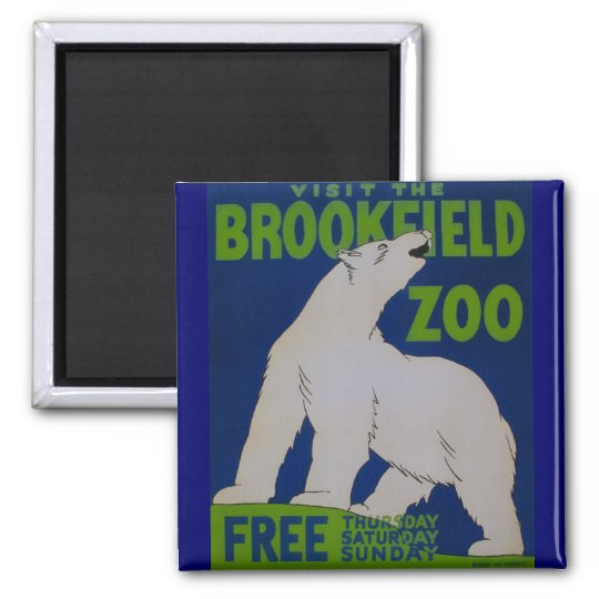 Visit The Zoo!! Square Magnet