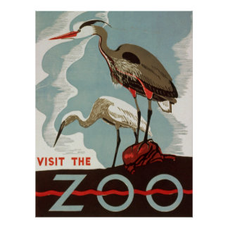 Visit The Zoo Vintage Tourism Poster