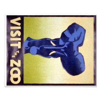 Visit the Zoo Vintage WPA FAP Poster Elephant Art Photo
