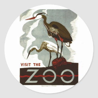 Visit the Zoo - WPA Poster - Sticker