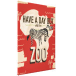 Visit The Zoo Zebra Vintage Travel Poster. Gallery Wrap Canvas