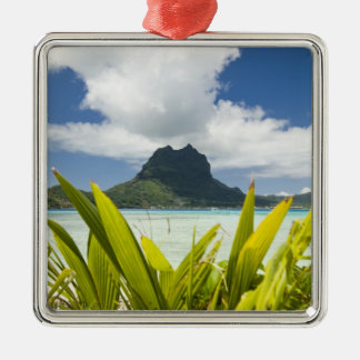 Visit to small picnic island in lagoon at Bora Silver-Colored Square Decoration