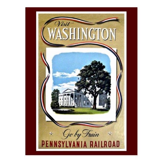 Visit Washington by train, Pennsylvania RR Postcard