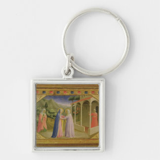 Visitation, from predella Annunciation Silver-Colored Square Key Ring