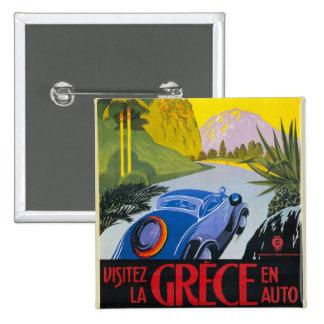 Visitez La Grece En Auto Retro Holiday Poster 15 Cm Square Badge