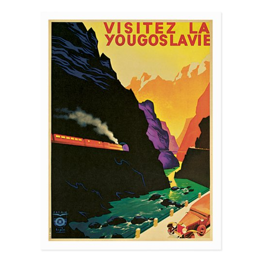 Visitez La Yougoslavie Vintage Travel Poster Art Postcard
