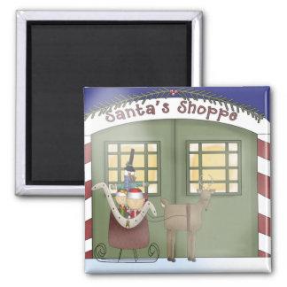 Visiting Santa's Workshop Square Magnet