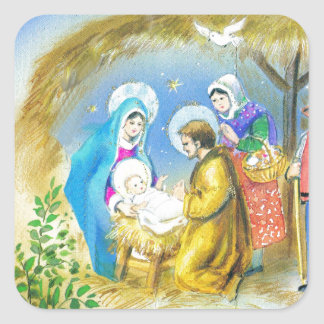 Visiting the Christ child in Bethlehem Square Sticker
