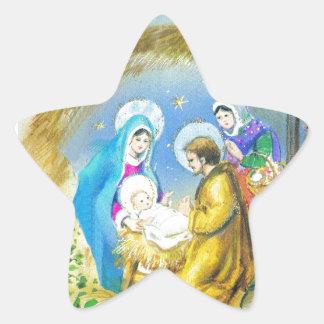 Visiting the Christ child in Bethlehem Star Sticker