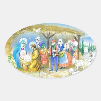 Visiting the Christ child in Bethlehem Oval Sticker