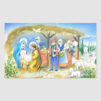 Visiting the Christ child in Bethlehem Rectangular Sticker