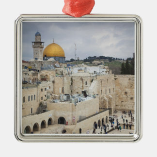 Visitors, Western Wall Plaza & Dome of the Rock Silver-Colored Square Decoration