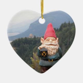 Vista Gnome Double-Sided Heart Ceramic Christmas Ornament