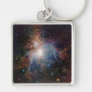VISTA's infrared view of the Orion Nebula Silver-Colored Square Key Ring