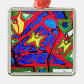 Visual Arts 827 Silver-Colored Square Decoration